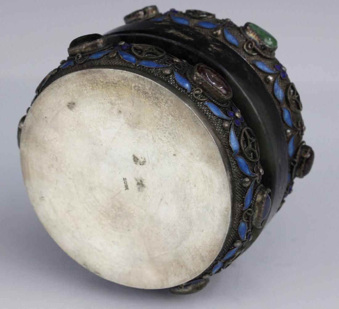 Chinese Silver Jade Enamel Gemstone Bracelet Box - 8