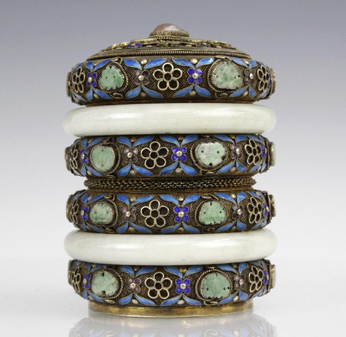 Chinese Silver Enamel White Jade Bracelet Mounted Box