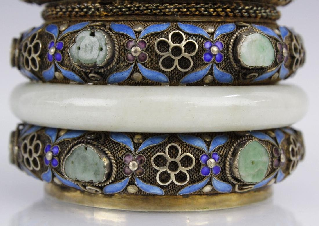 Chinese Silver Enamel White Jade Bracelet Mounted Box - 3