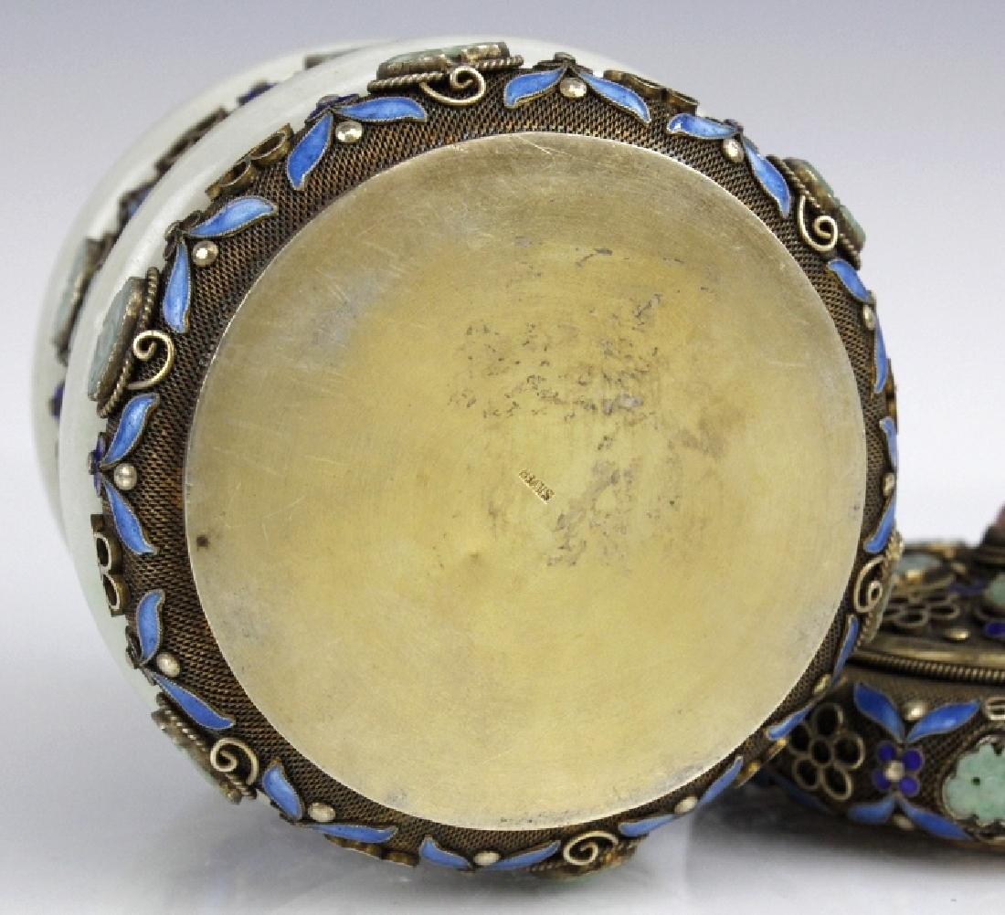 Chinese Silver Enamel White Jade Bracelet Mounted Box - 7