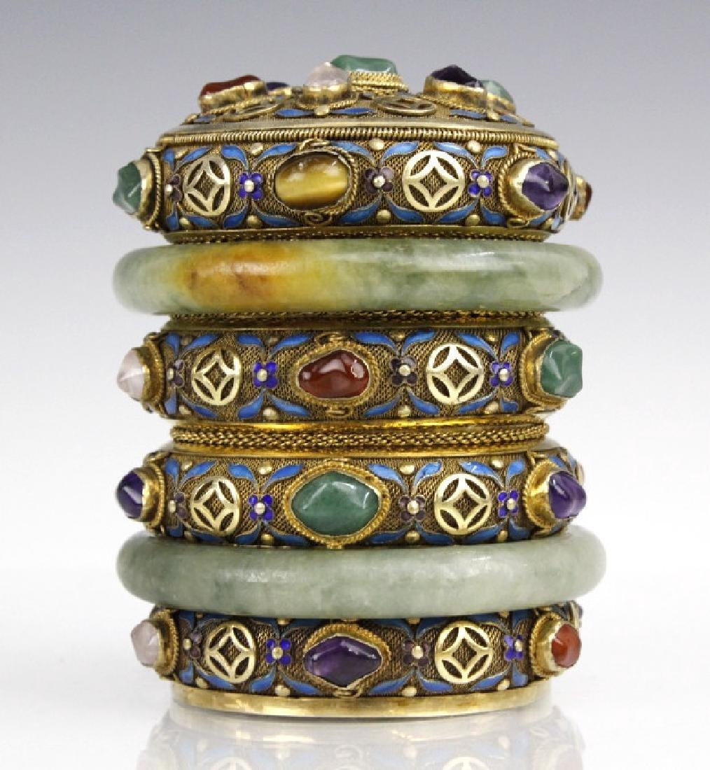 Chinese Silver Enamel Green Jade Gemstone Bracelet Box