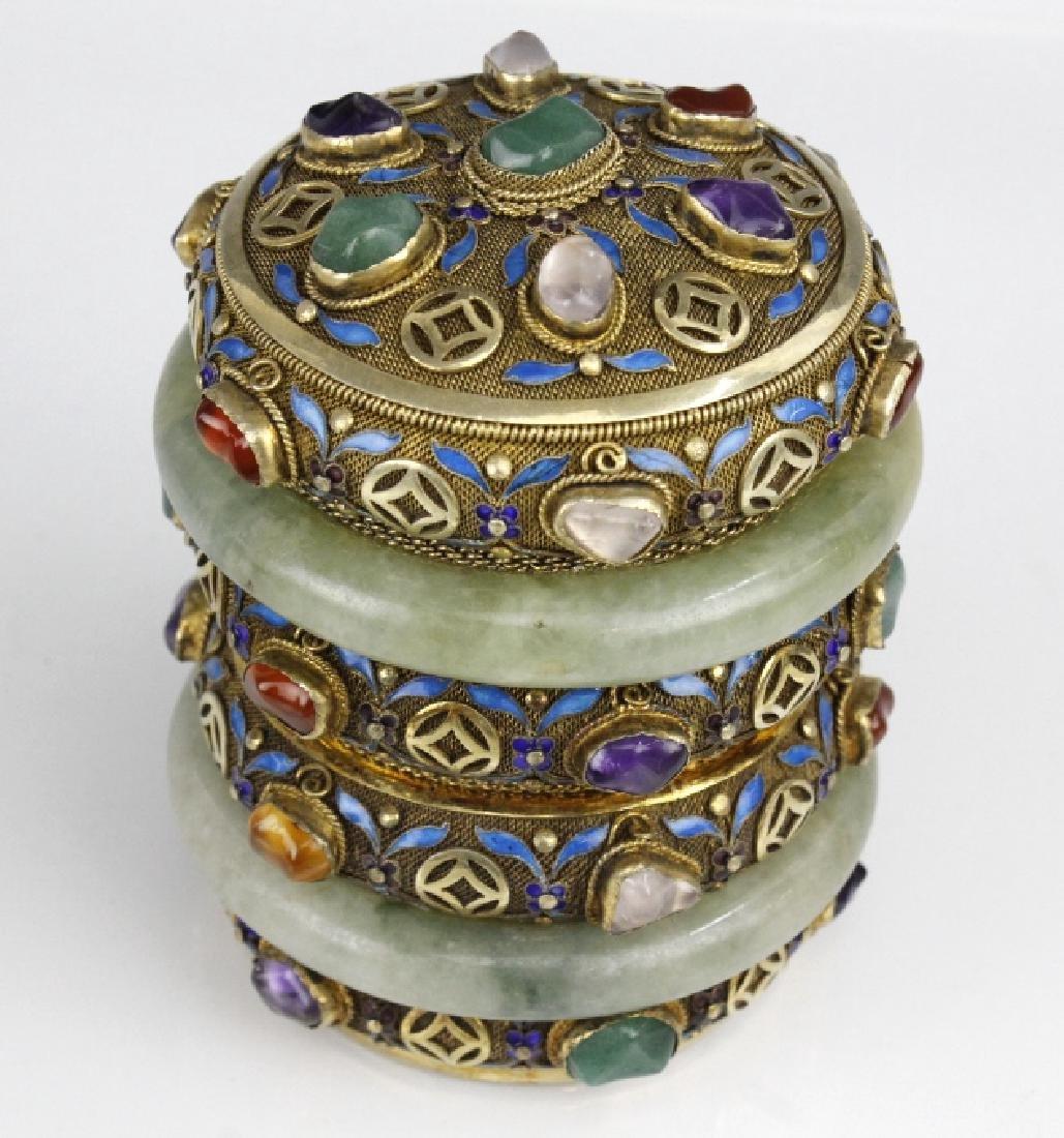 Chinese Silver Enamel Green Jade Gemstone Bracelet Box - 2