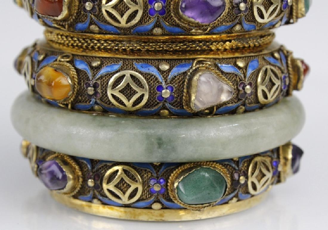 Chinese Silver Enamel Green Jade Gemstone Bracelet Box - 3