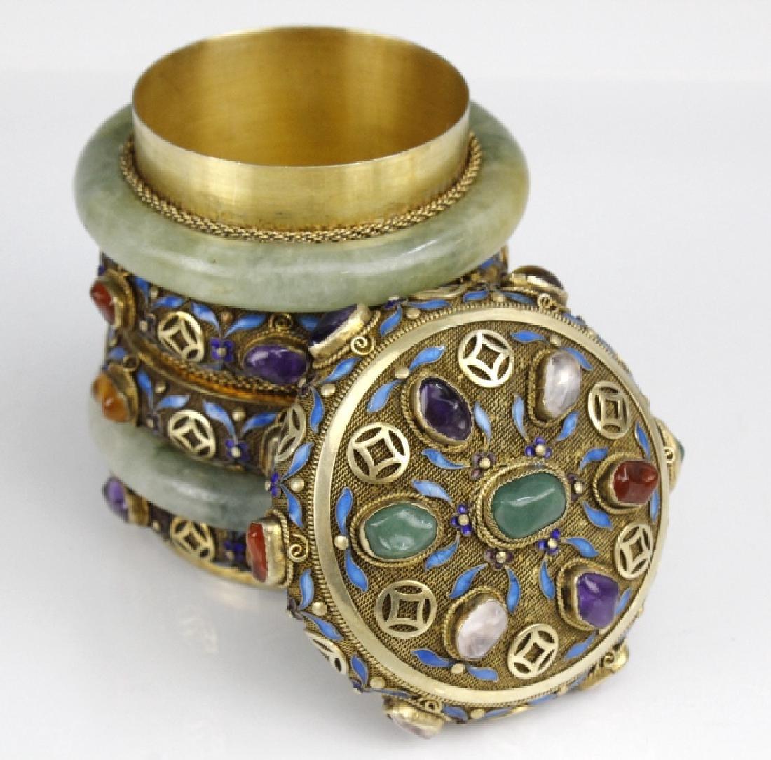 Chinese Silver Enamel Green Jade Gemstone Bracelet Box - 4