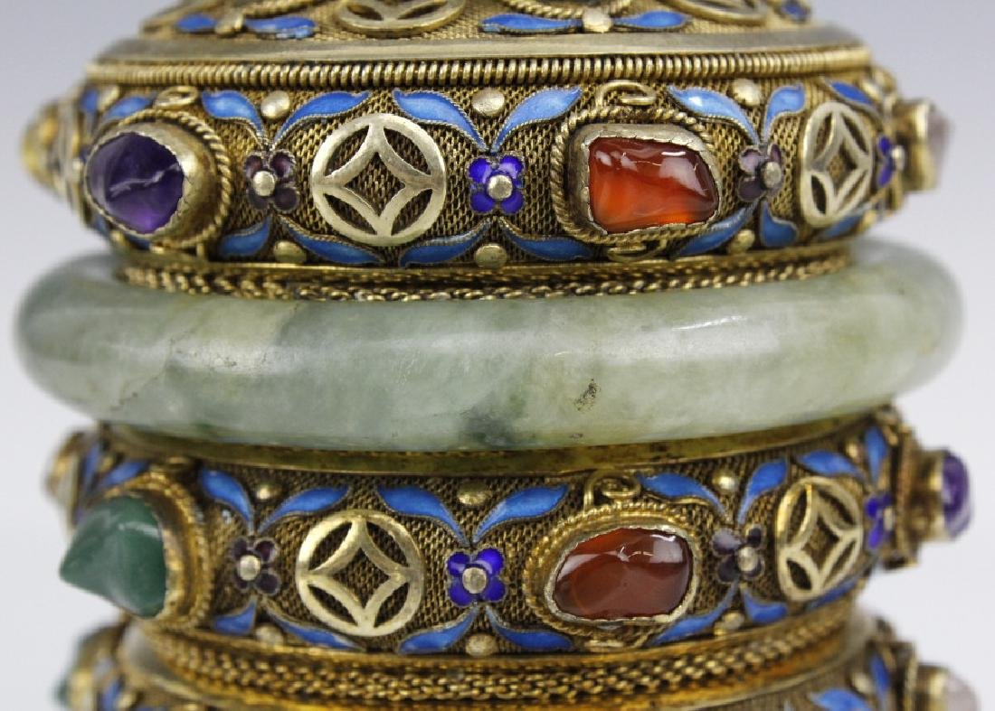 Chinese Silver Enamel Green Jade Gemstone Bracelet Box - 6