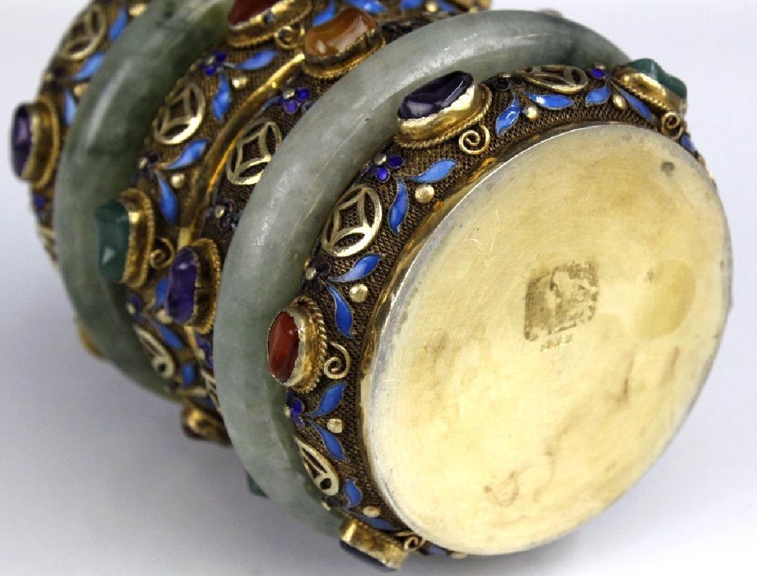 Chinese Silver Enamel Green Jade Gemstone Bracelet Box - 8