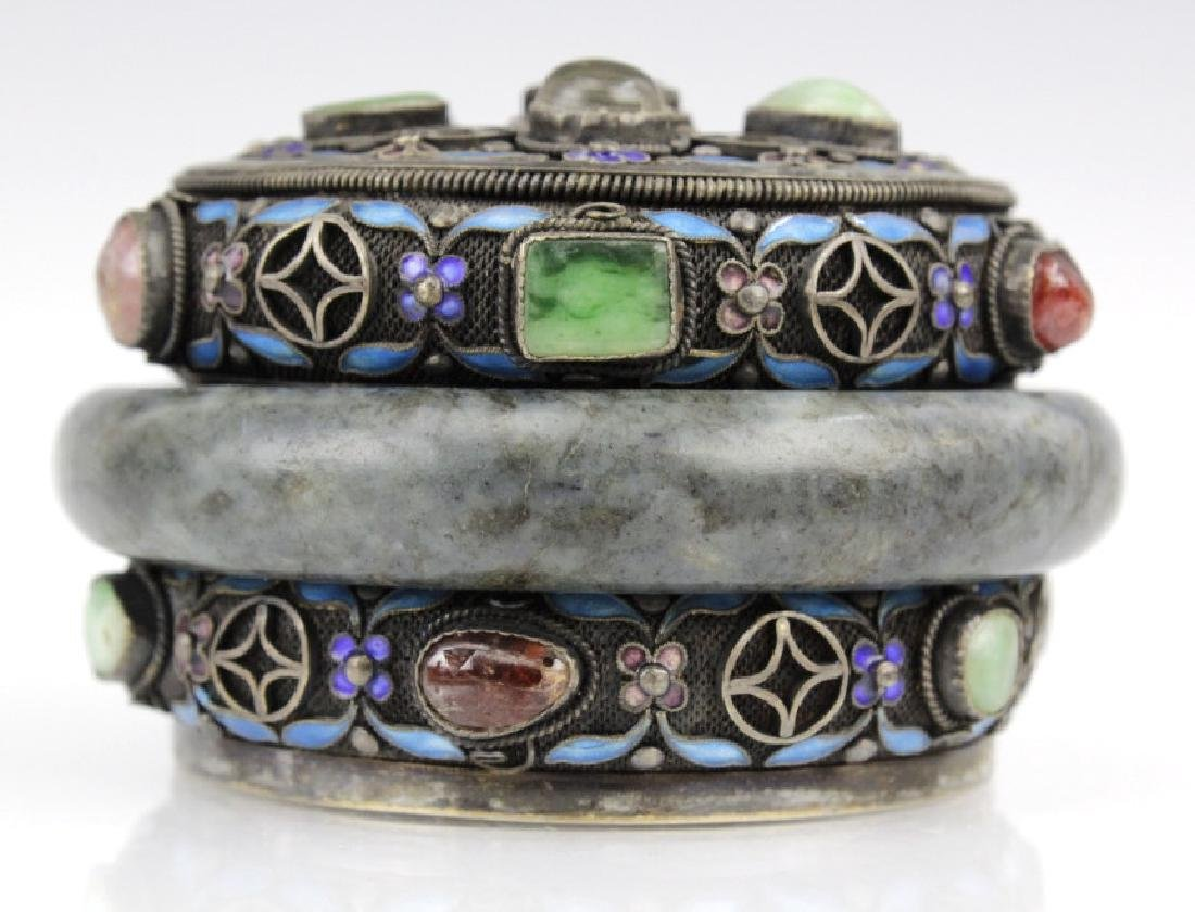 Chinese Silver Green Spinach Jade Enamel Bracelet Box - 2
