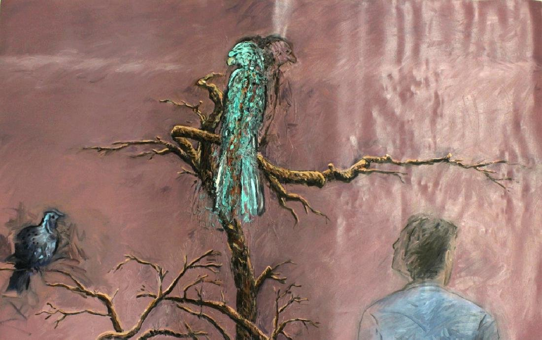 "Jim Sullivan The Prey 53""x84"" Painting BASS MUSEUM"