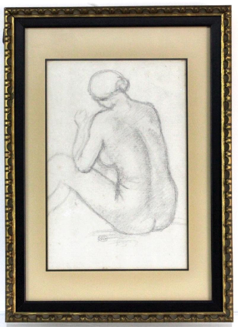 ARISTIDE MAILLOL French Female Nude Pencil Drawing