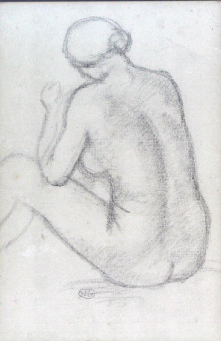 ARISTIDE MAILLOL French Female Nude Pencil Drawing - 2