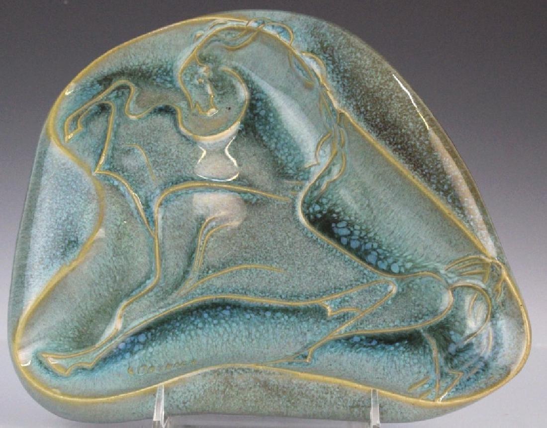 Robert Cronbach Prancing Stallion Pottery Dish