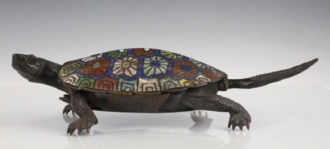 Chinese Cloisonne Signed Bronze Turtle Box
