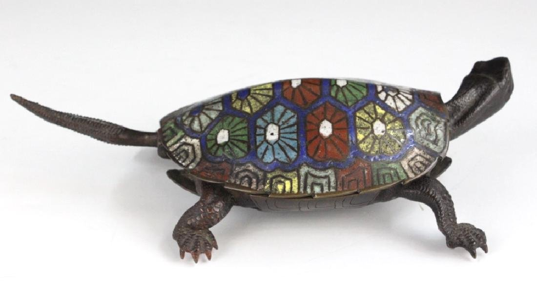 Chinese Cloisonne Signed Bronze Turtle Box - 2