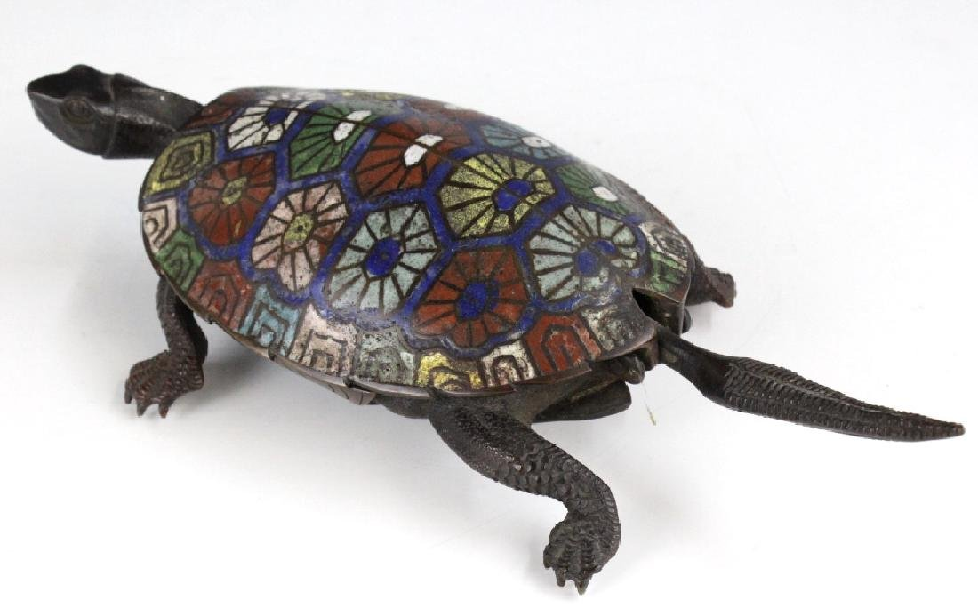 Chinese Cloisonne Signed Bronze Turtle Box - 3