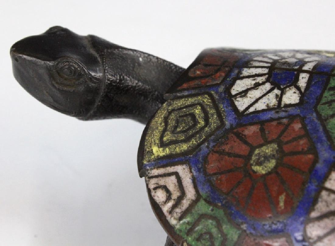 Chinese Cloisonne Signed Bronze Turtle Box - 4