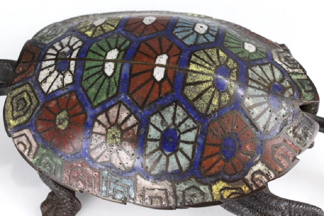Chinese Cloisonne Signed Bronze Turtle Box - 7