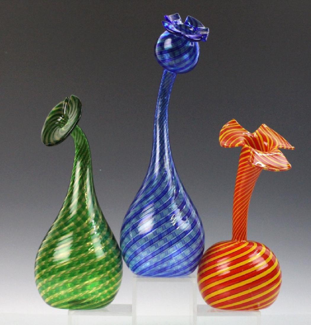 Set of 3 Orlando Zennaro Murano Italian Art Glass Vases
