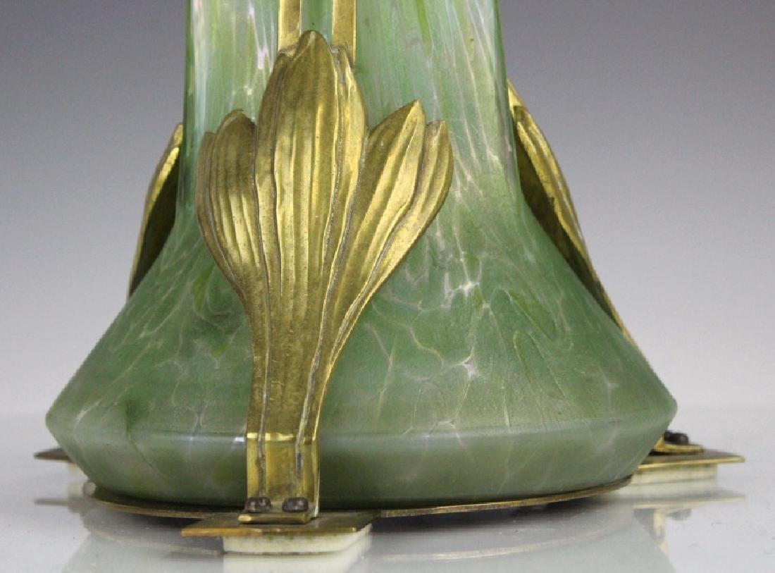 Style Of Loetz Studio Glass Vase with Metal Mount - 2