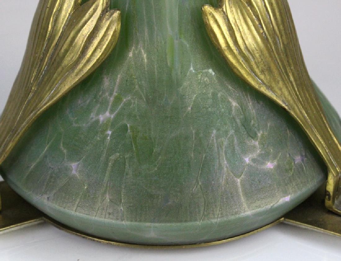 Style Of Loetz Studio Glass Vase with Metal Mount - 7