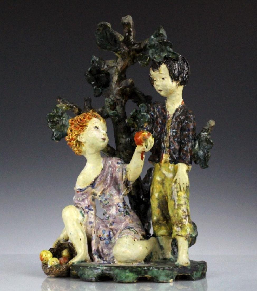 Susi Singer Terracotta Signed Sculpture Adam & Eve