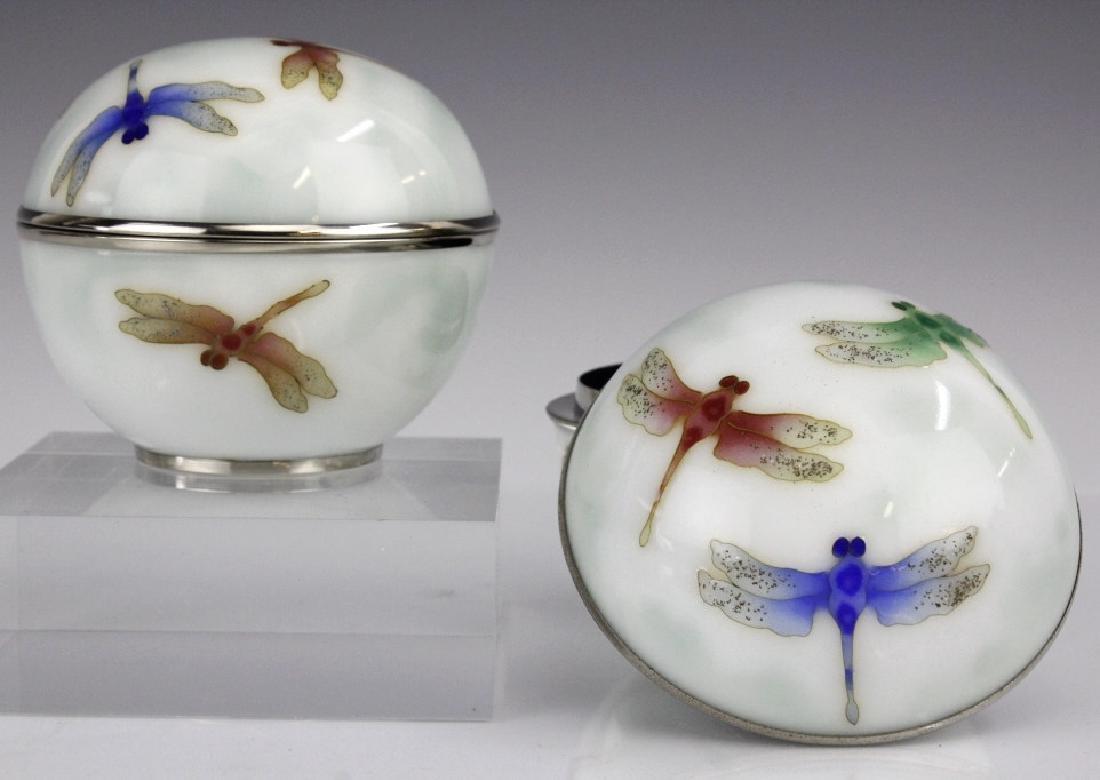 Pair Ando Jubei Cloisonne Enamel Dragonfly Box