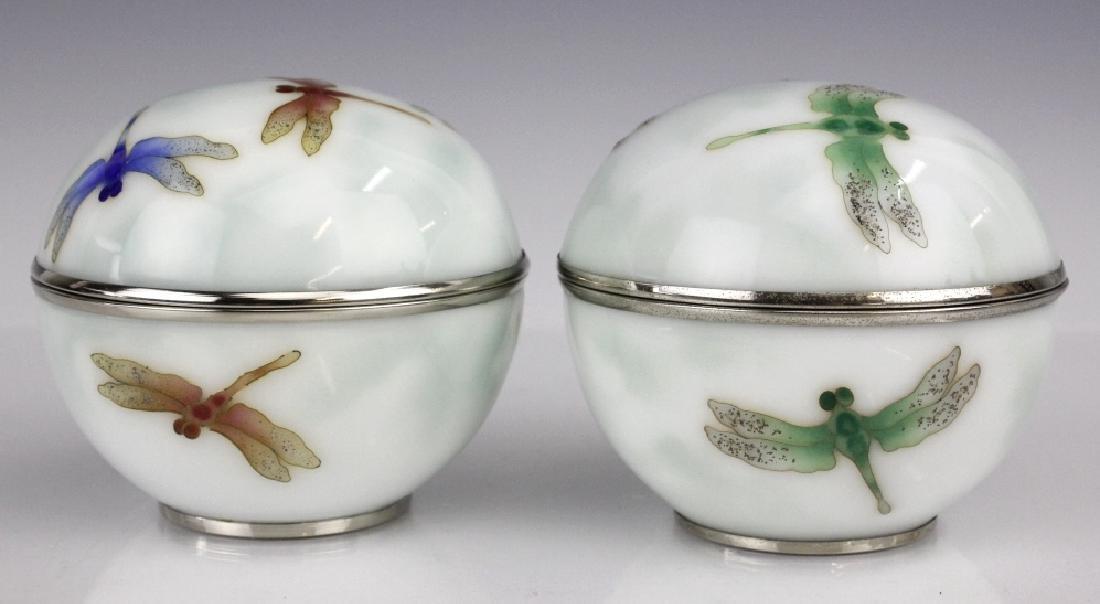 Pair Ando Jubei Cloisonne Enamel Dragonfly Box - 2
