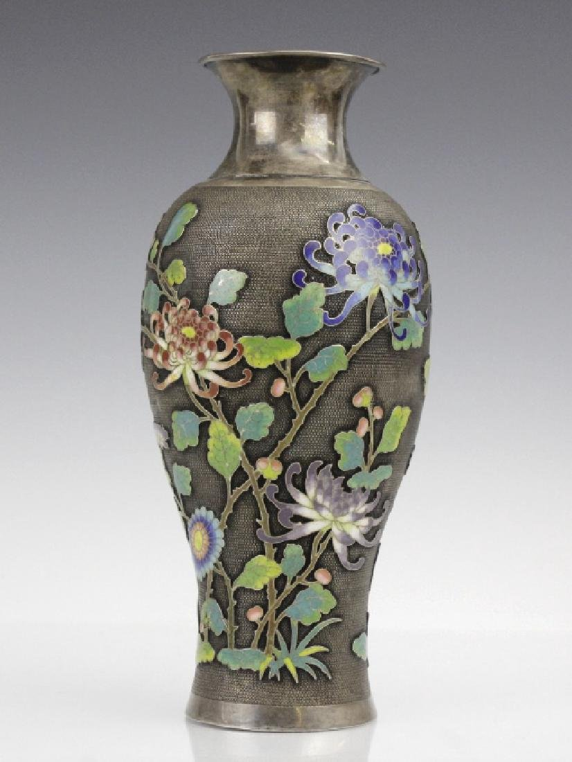 Chinese Silver Cloisonne Enamel Vase by Wang Hing