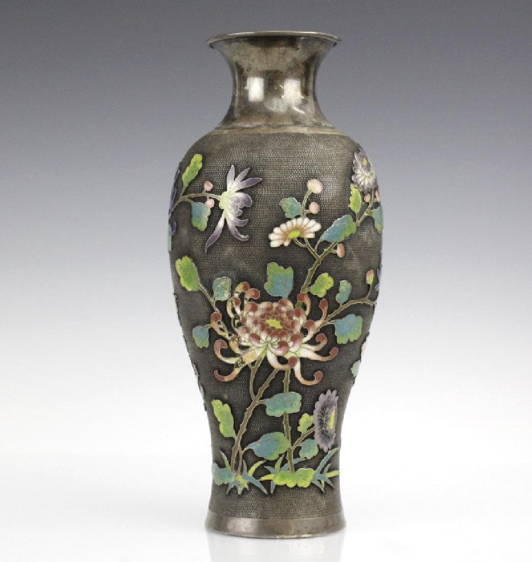 Chinese Silver Cloisonne Enamel Vase by Wang Hing - 2