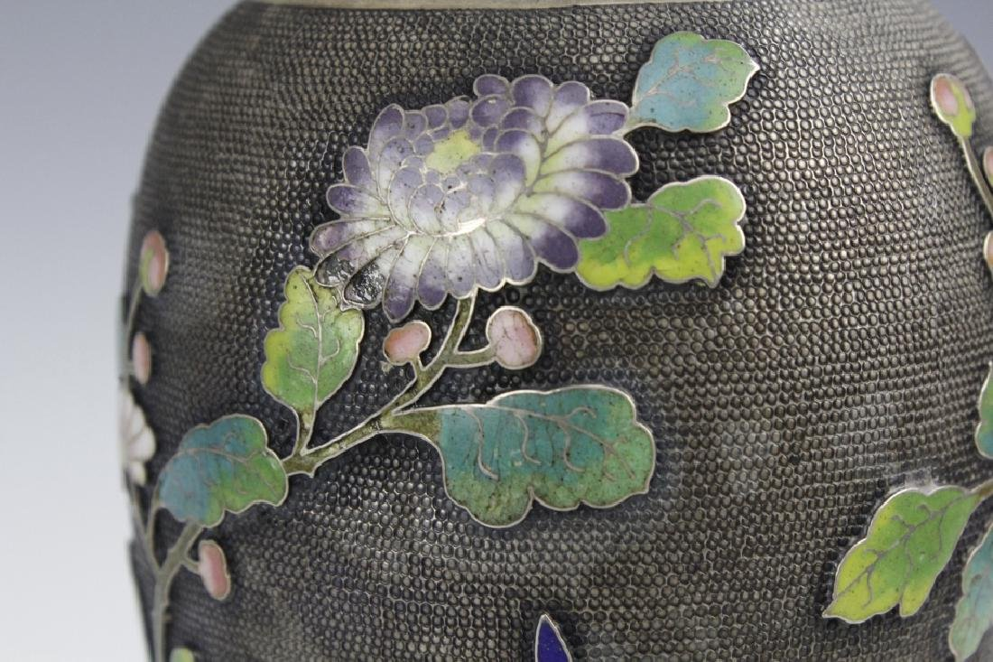 Chinese Silver Cloisonne Enamel Vase by Wang Hing - 3