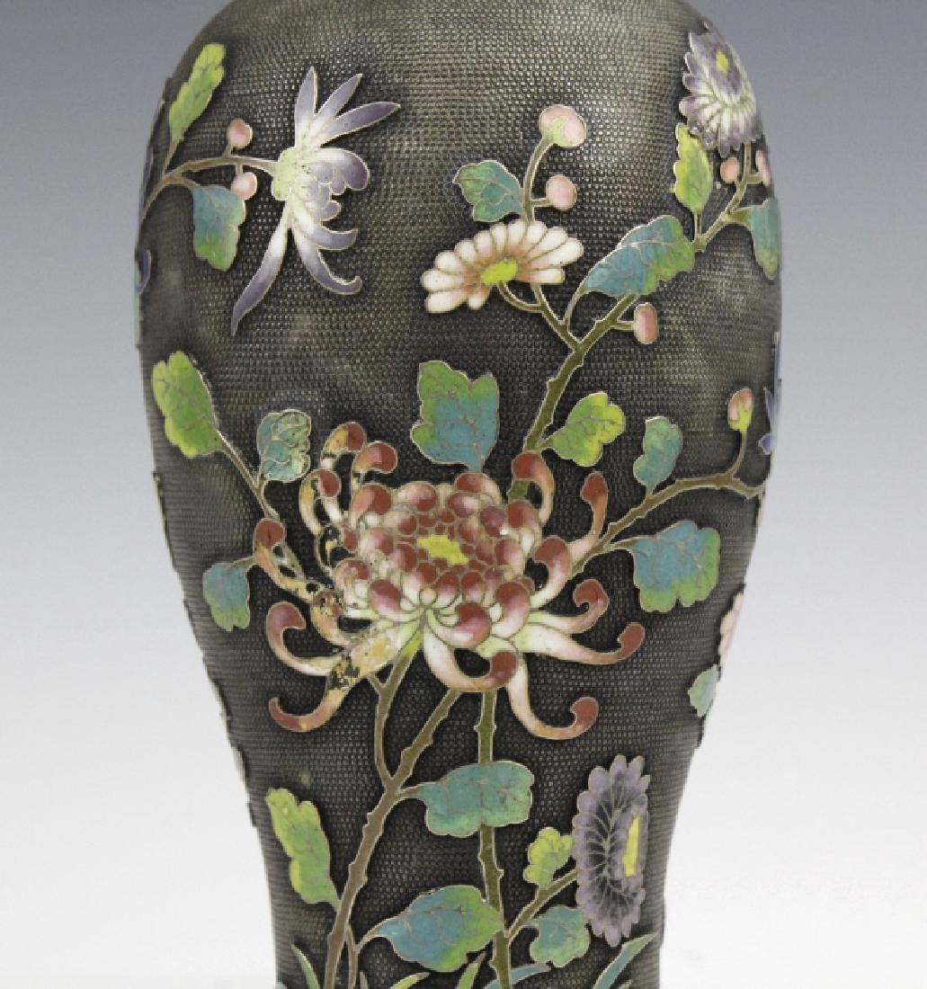 Chinese Silver Cloisonne Enamel Vase by Wang Hing - 4