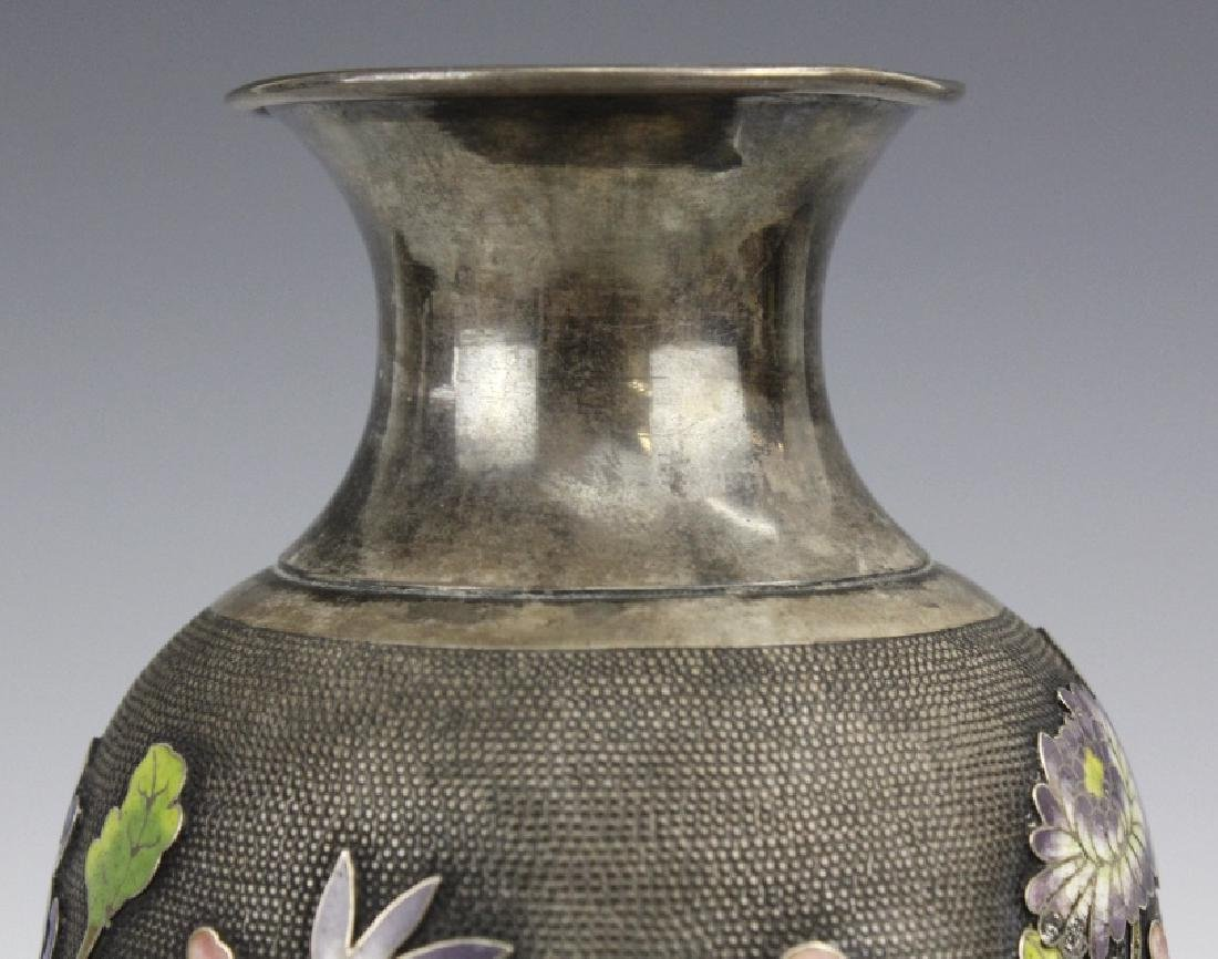 Chinese Silver Cloisonne Enamel Vase by Wang Hing - 5