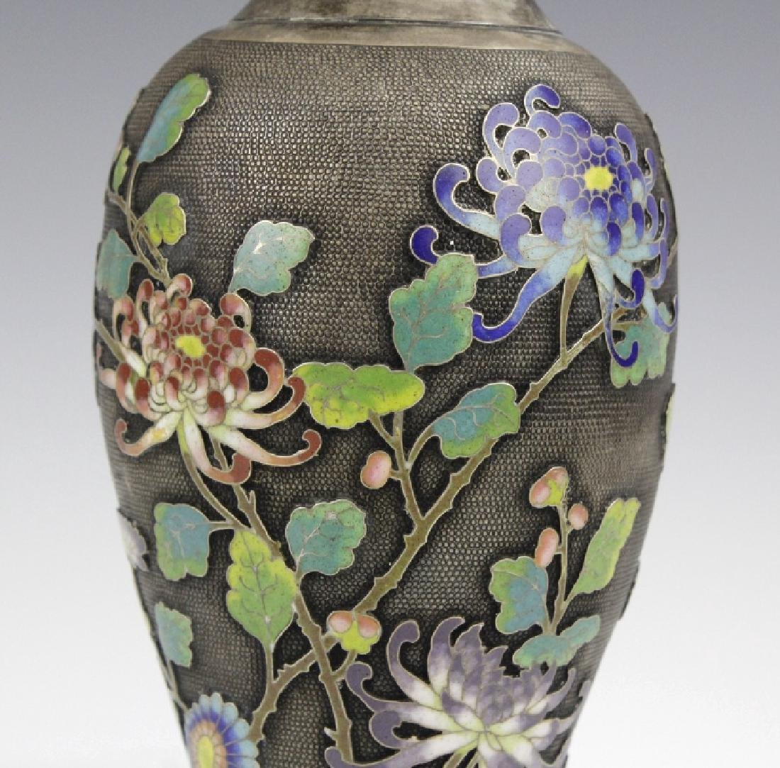 Chinese Silver Cloisonne Enamel Vase by Wang Hing - 7