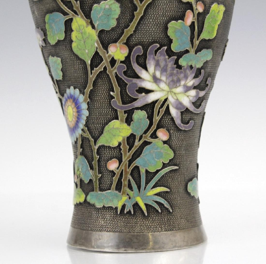 Chinese Silver Cloisonne Enamel Vase by Wang Hing - 8