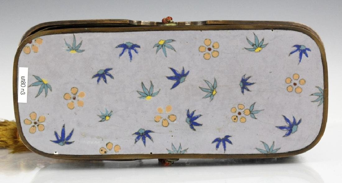 Cloisonne Enamel Lined Butterfly Calligraphy Box - 2