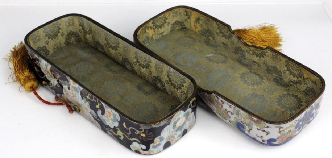 Cloisonne Enamel Lined Butterfly Calligraphy Box - 6