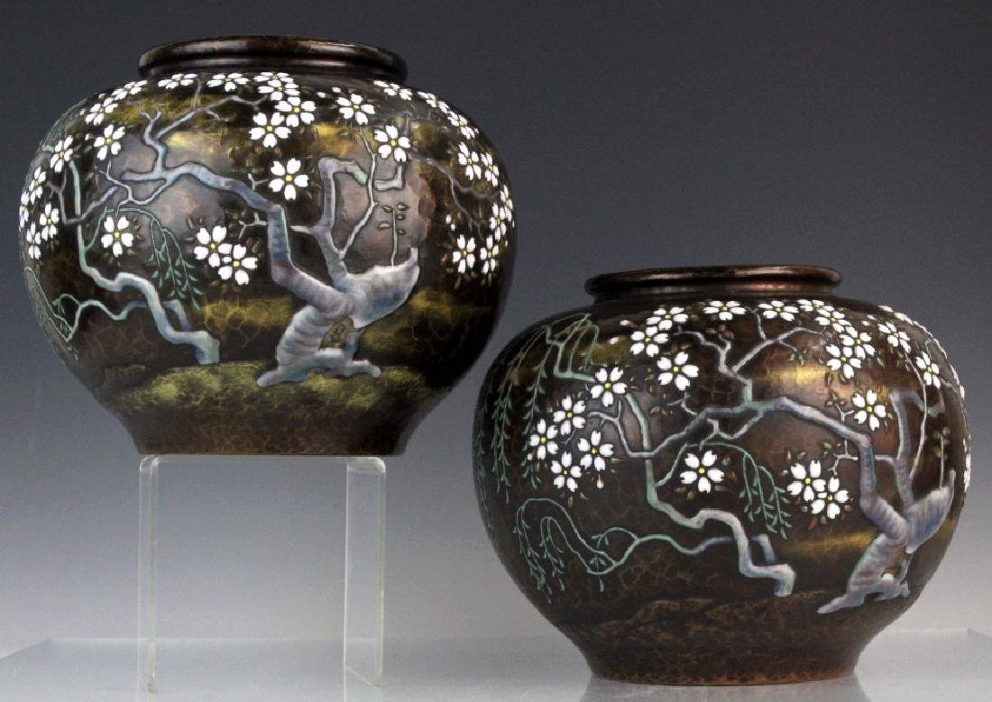 Pair of Morriage Cherry Enameled Vases by Ando