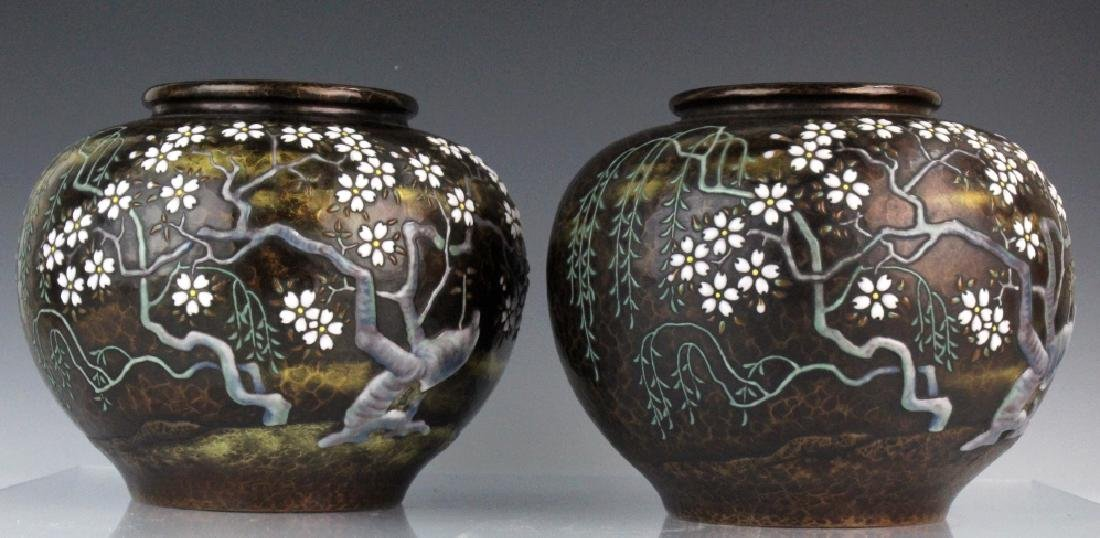 Pair of Morriage Cherry Enameled Vases by Ando - 5
