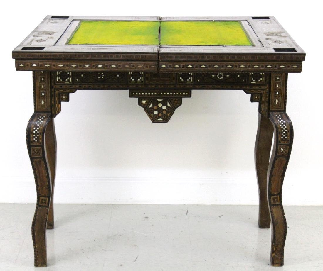 Antique Moroccan Inlaid Wood Mother of Pearl Game Table