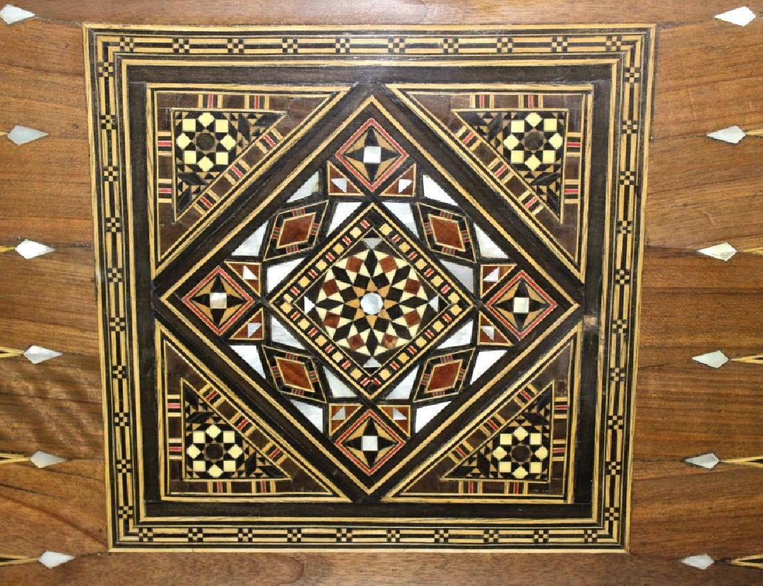 Antique Moroccan Inlaid Wood Mother of Pearl Game Table - 2