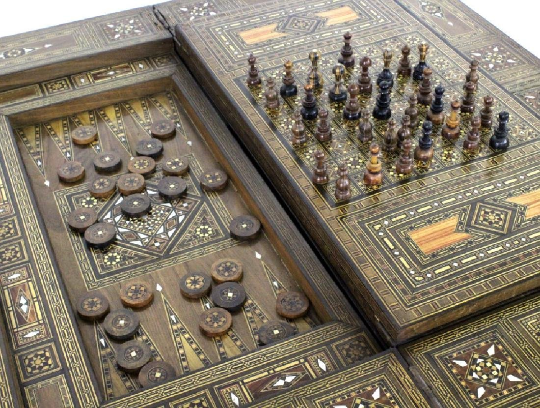 Antique Moroccan Inlaid Wood Mother of Pearl Game Table - 3