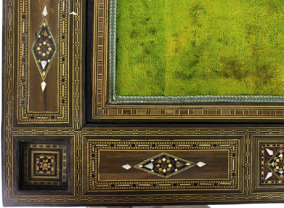 Antique Moroccan Inlaid Wood Mother of Pearl Game Table - 4
