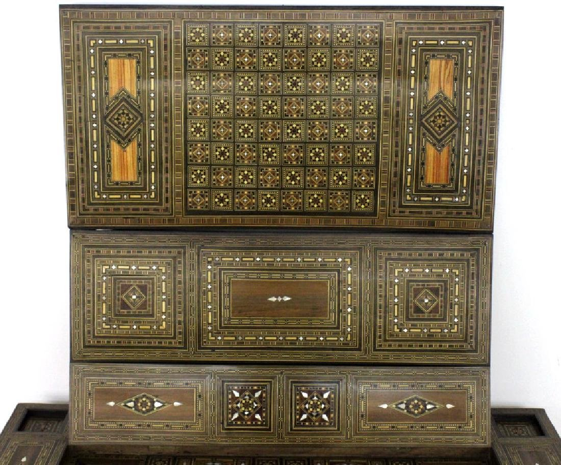 Antique Moroccan Inlaid Wood Mother of Pearl Game Table - 5