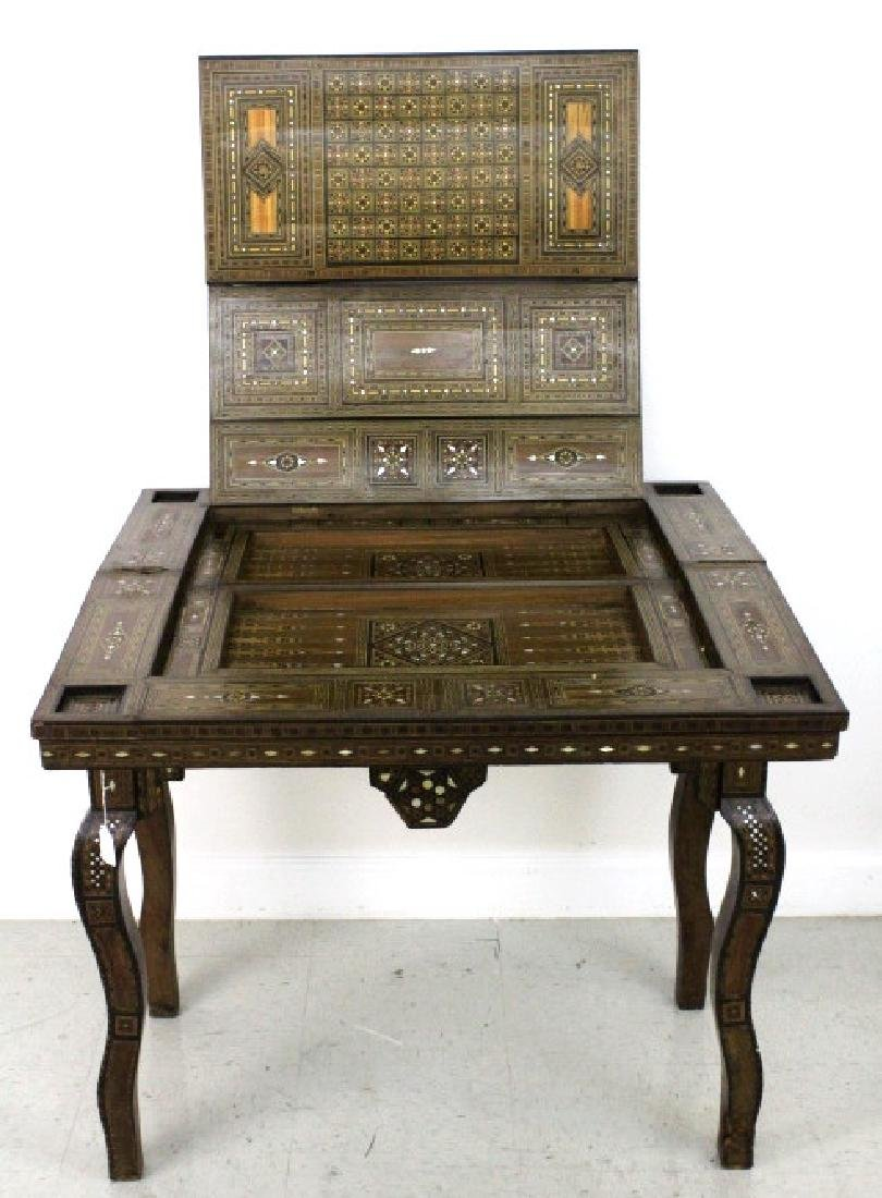 Antique Moroccan Inlaid Wood Mother of Pearl Game Table - 6