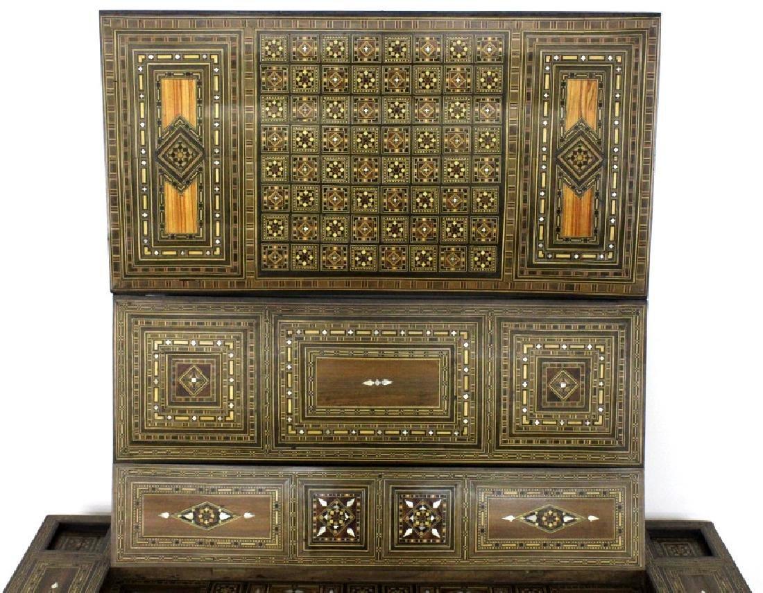 Antique Moroccan Inlaid Wood Mother of Pearl Game Table - 7