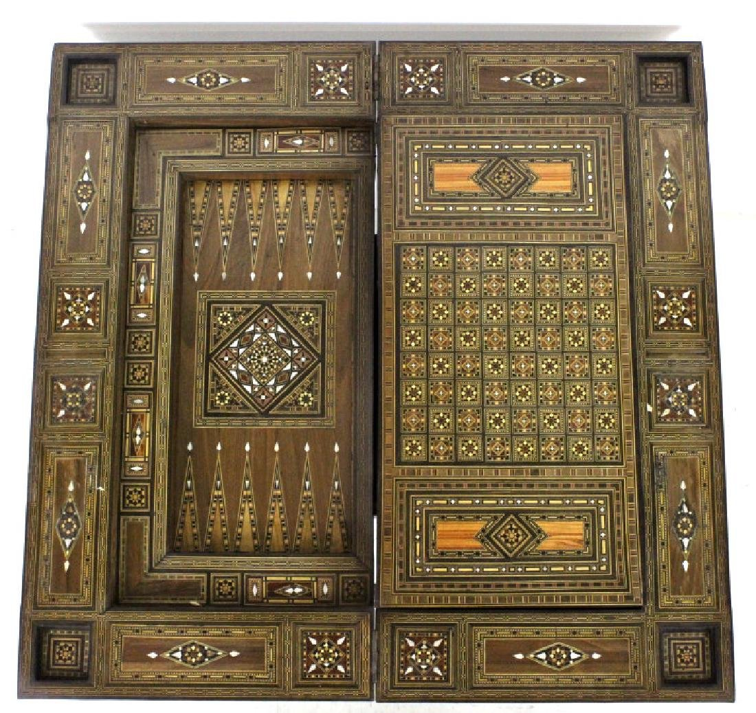 Antique Moroccan Inlaid Wood Mother of Pearl Game Table - 9