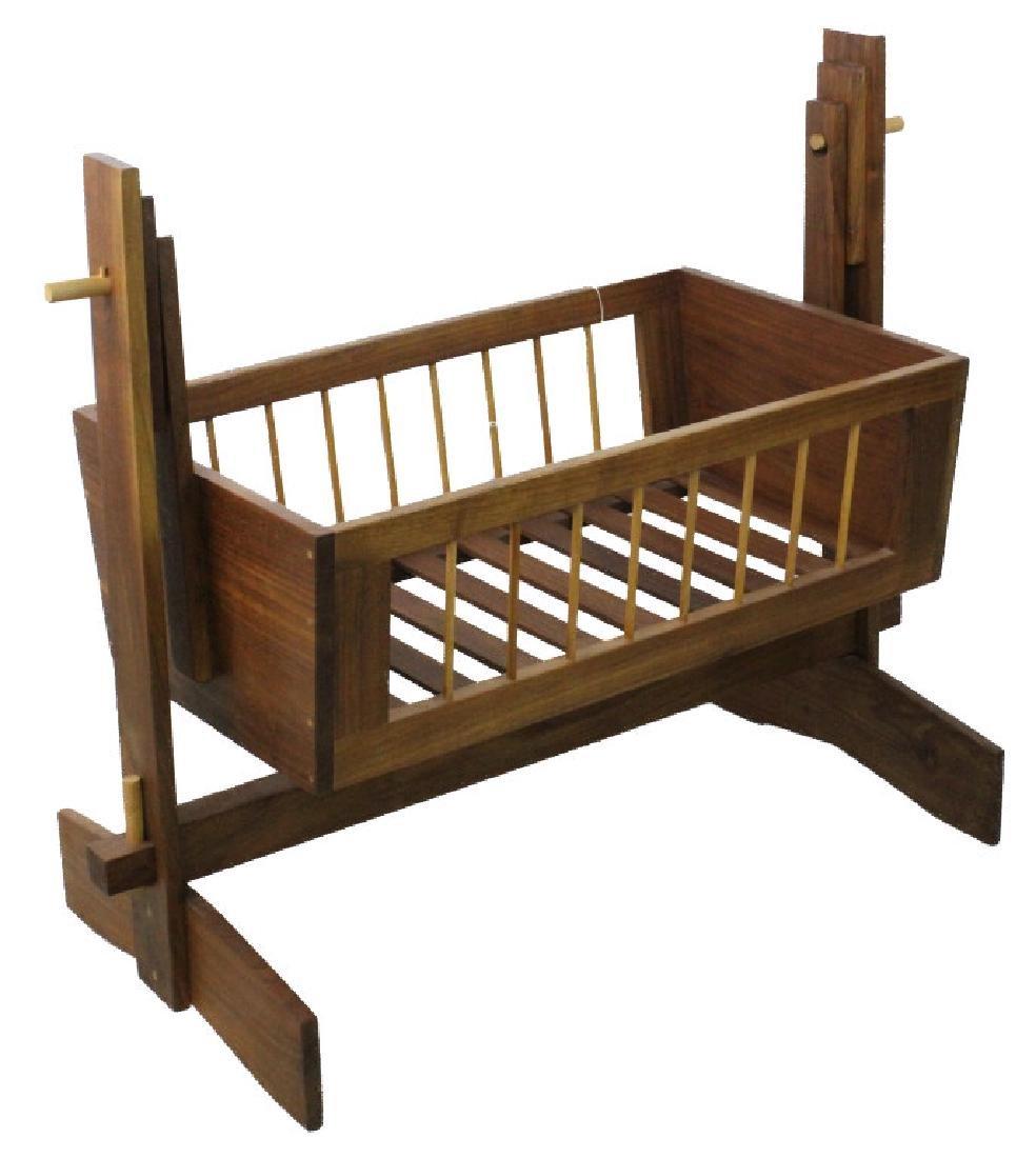 Mid Century Modern Walnut Suspended Baby Cradle MCM