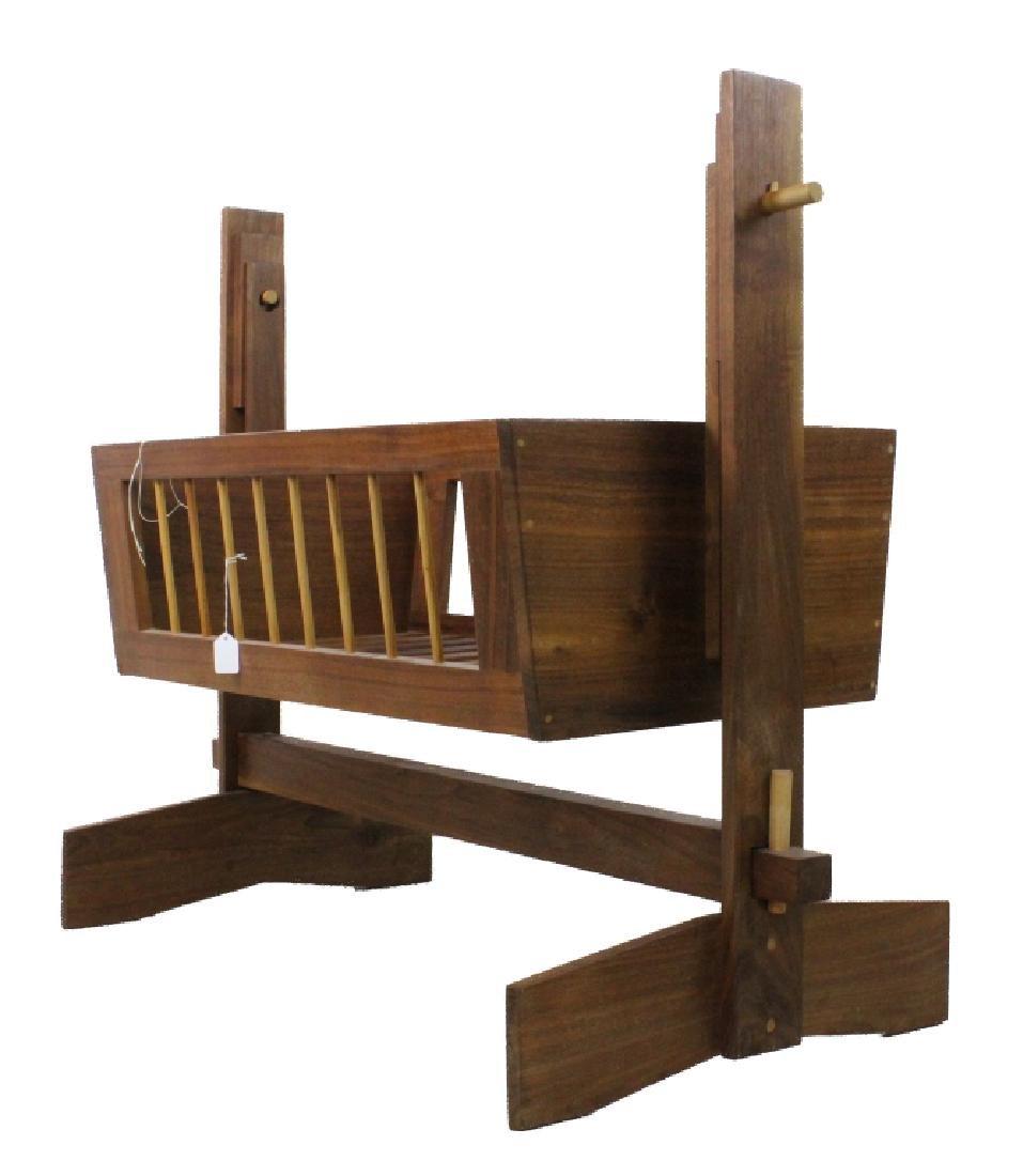 Mid Century Modern Walnut Suspended Baby Cradle MCM - 2