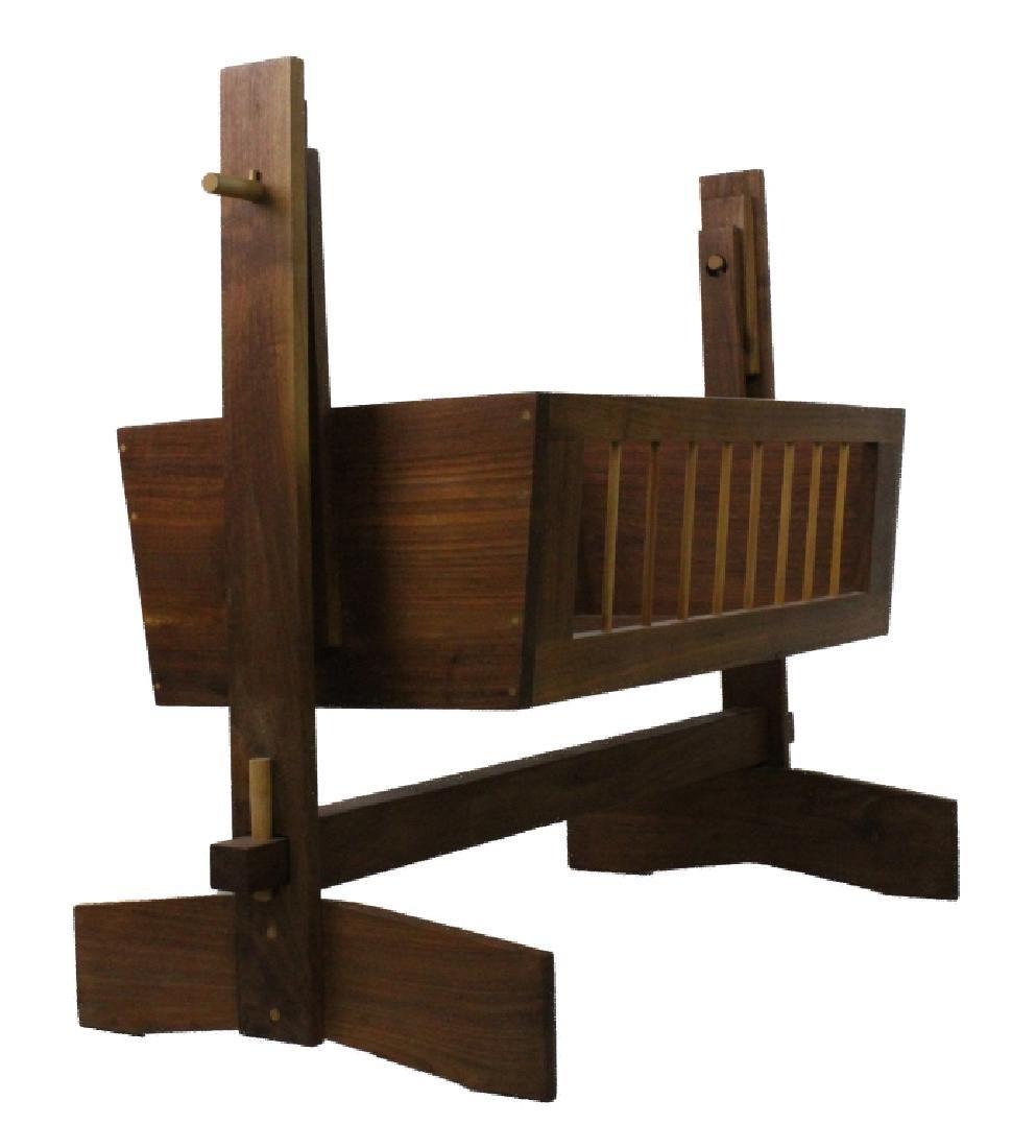 Mid Century Modern Walnut Suspended Baby Cradle MCM - 7