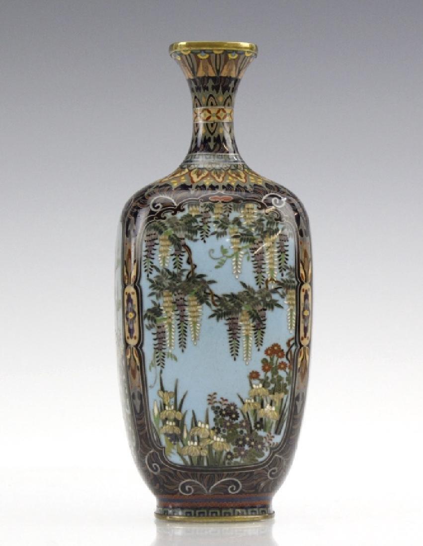 Japanese Cloisonne Enamel Ginbari Panel Bud Vase