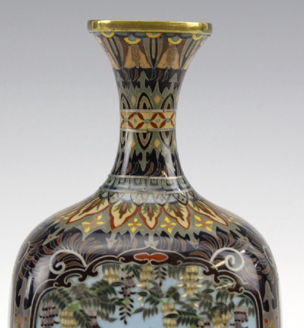 Japanese Cloisonne Enamel Ginbari Panel Bud Vase - 2